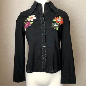 Vintage Embroidered Floral Western-Inspired Blouse